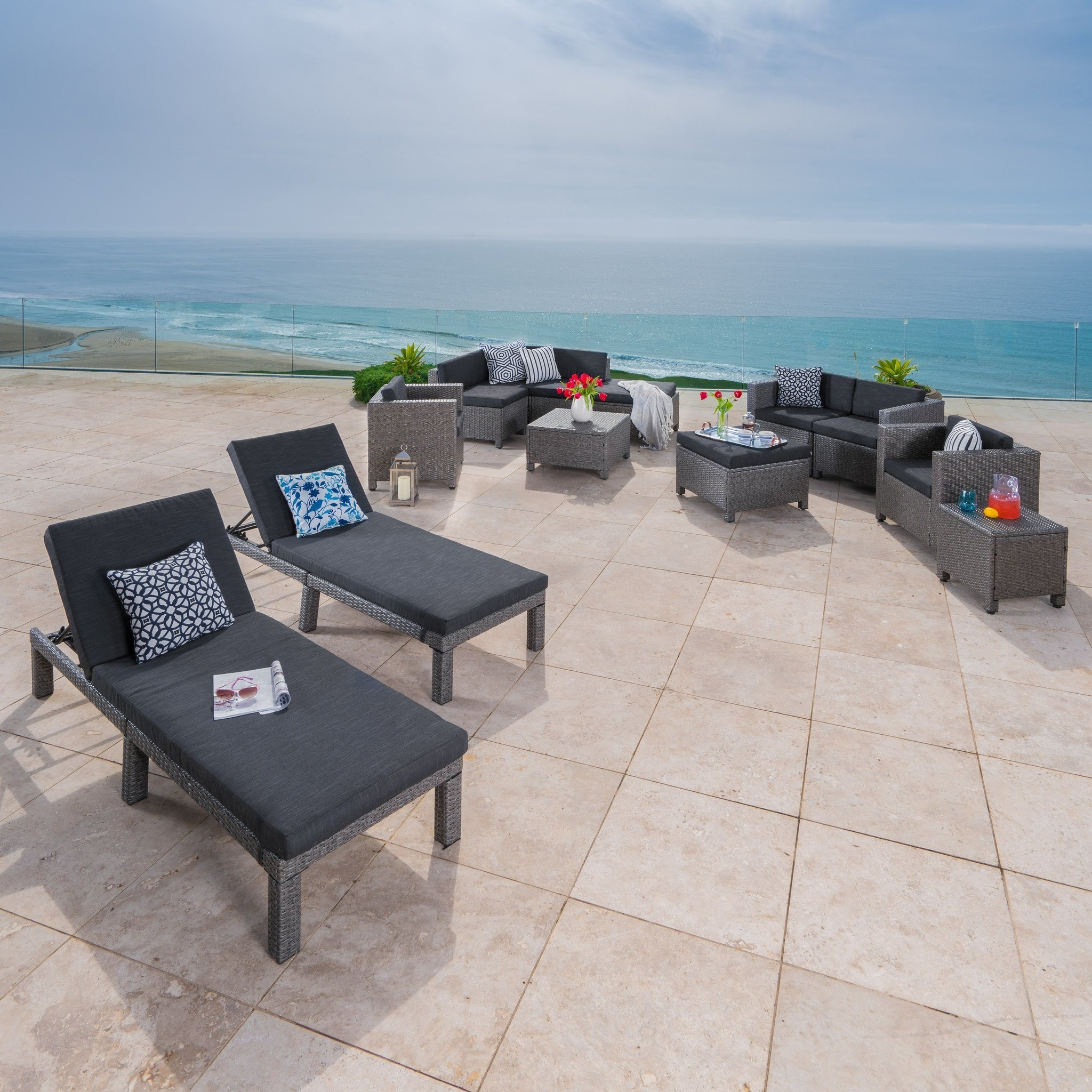 Phillips Outdoor 13 Pc Wicker Patio Set w/Water Resistant Cushions