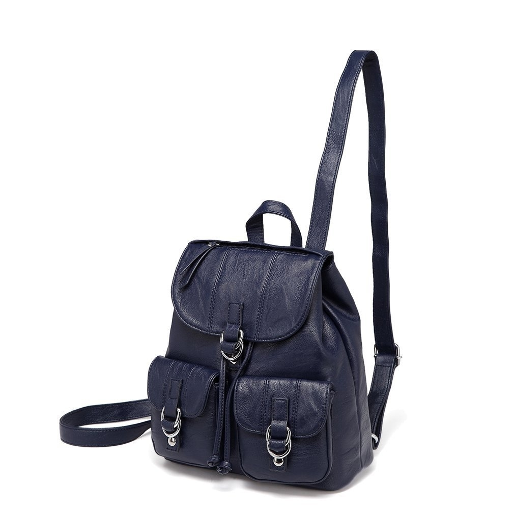 Backpack Purse for Women Fashion Faux Leather Buckle Flap?Drawstring Backpack for College with Two Front Pockets (imomoi) photo
