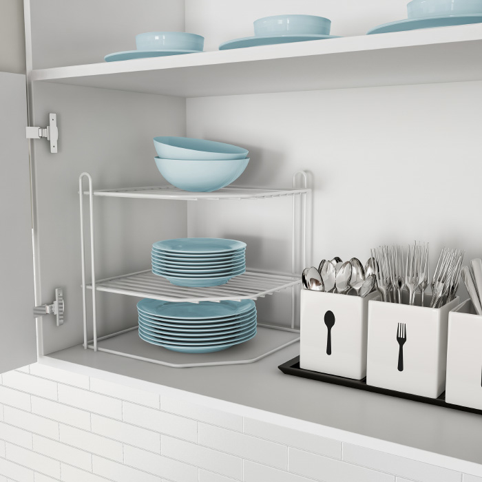 Two-Tiered Corner Shelf � Powder Coated Iron Space Saving Storage Organizer for Kitchen, Bathroom, Office or Laundry Room