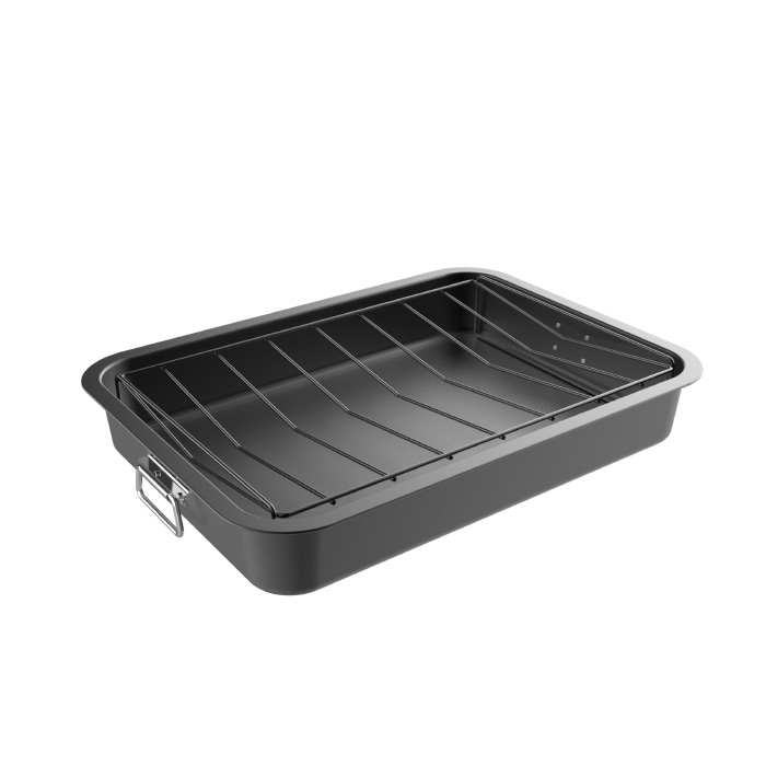 Roasting Pan with Angled Rack-Nonstick Oven Roaster and Removable Tray-Drain Fat and Grease for Healthier Cooking-Kitchen Cookware