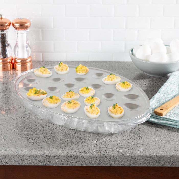 Cold Deviled Egg Tray-Chilled Platter with Ice Compartment-Egg, Fruit, Veggie Holder Serving Dish for Parties, Barbecues, or Events