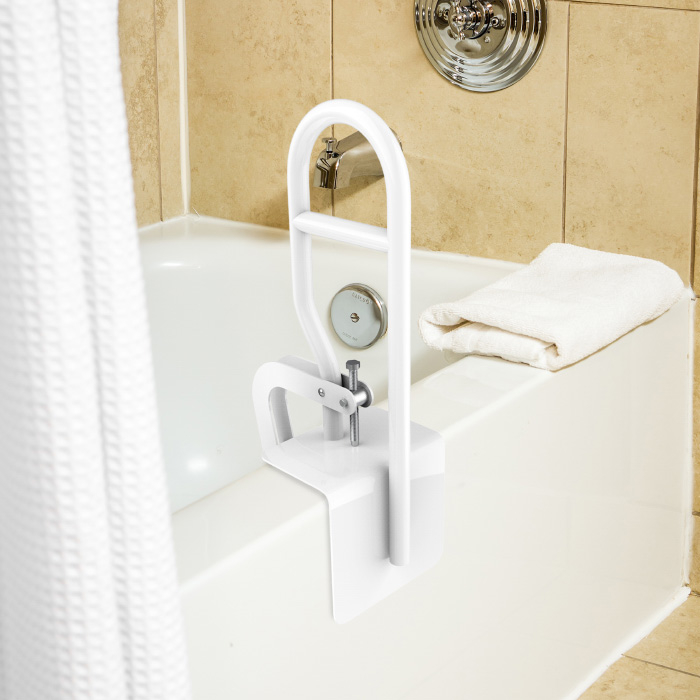 Bathtub Safety Bar Heavy Duty Bathroom Stabilizer Grab Rail Mobility and Support Assistance with Adjustable Clamp and Rubber Grips