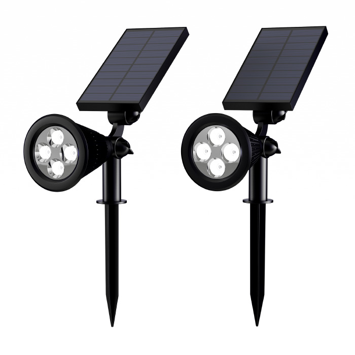 Solar Powered Outdoor Spotlights -Set of 2 Landscape Lights-Ground Stakes or Wall Mountable, 4 LED Bulbs-For Pathway, Garden, Patio