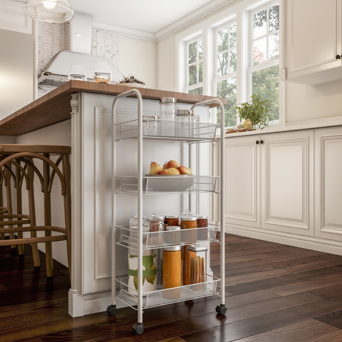 4-Tiered Narrow Rolling Storage Shelves - Mobile Space Saving Utility Organizer Cart for Kitchen, Bathroom, Laundry, Garage or Office