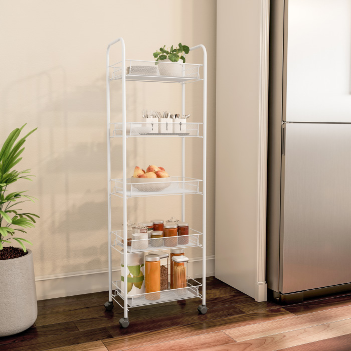 5 Shelf Tall Narrow Rolling Storage Shelves - Mobile Space Saving Utility Organizer Cart for Kitchen, Bathroom, Laundry, Garage or Office