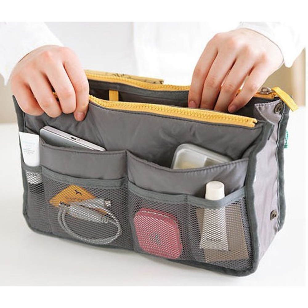 Insert Bag Organizer Functional Handbag Purse Organizer,Makeup Bag Cases,Tidy (SYKK-LP-T016-SB) photo