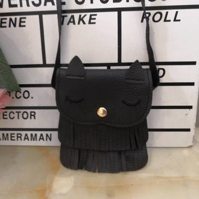 Children Girls Cute Tassel Cat Shoulder Messenger Bag Mini Coin Purses PU Leather Handbags Wallet - Black (Center Mall) photo