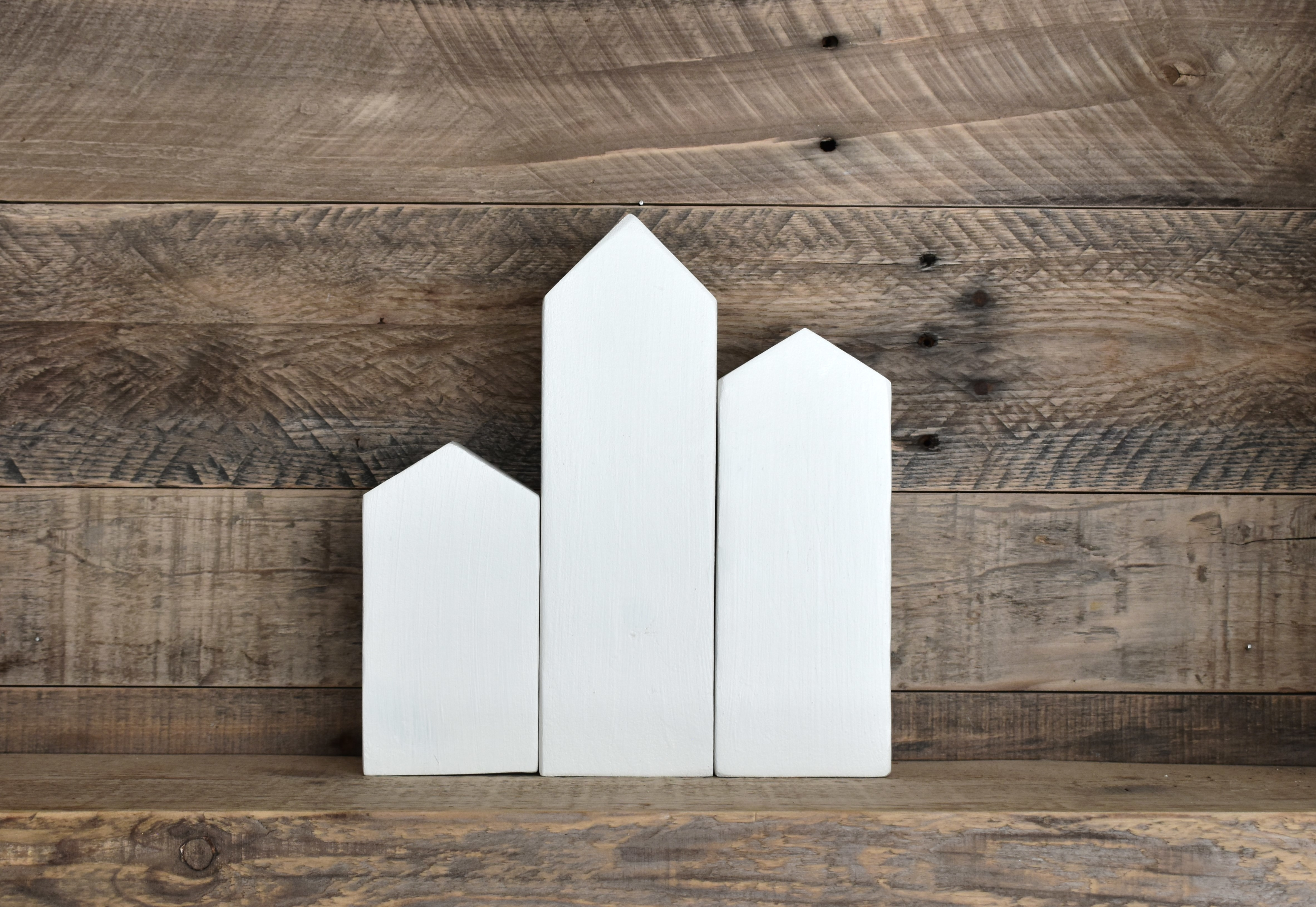 White Wooden Houses, Simple Home Decor, Tiny Houses, Small Wooden Houses, Decor Houses, Home Accents, Farmhouse Decor, Block House - White