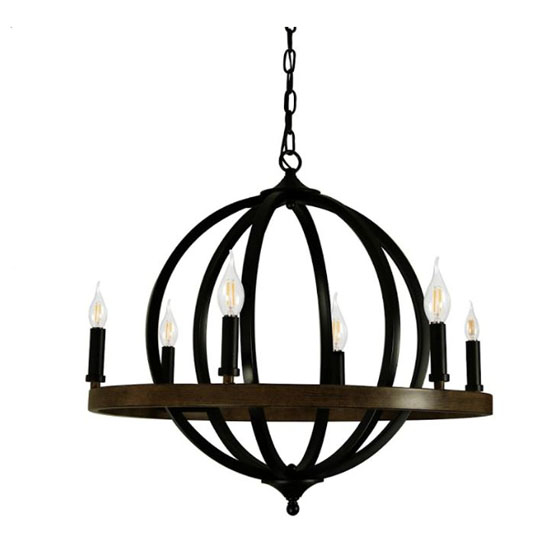 Canyon Home 6 Light Chandelier Globe (Matte Black) , Steel Sphere with Wood Patterned Decorative Circle   Dining Room, Foyer