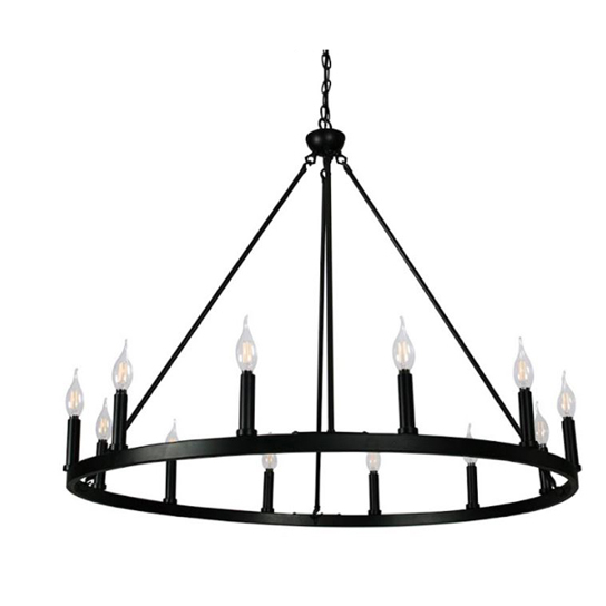 """Canyon Home12 Light Chandelier Wagon Wheel (37"""" Wide) Matte Black Steel Frame   Large Home Decoration   Foyer, Entryway, Dining Room"""