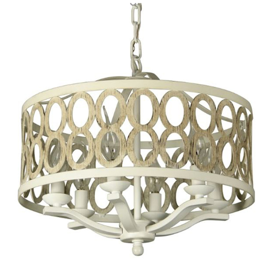 """Canyon Home 6 Light Drum Chandelier (16"""" Wide) Steel Frame with Wooden Pattern   Dining Room, Foyer, Entryway or Living Room Decor"""