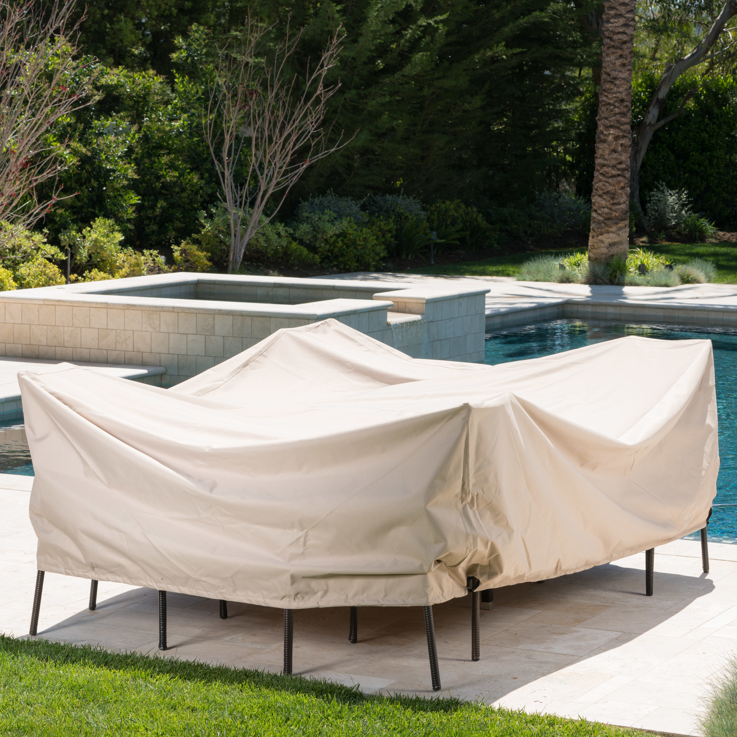 Coverall Outdoor Beige Waterproof Fabric Dining Set Cover