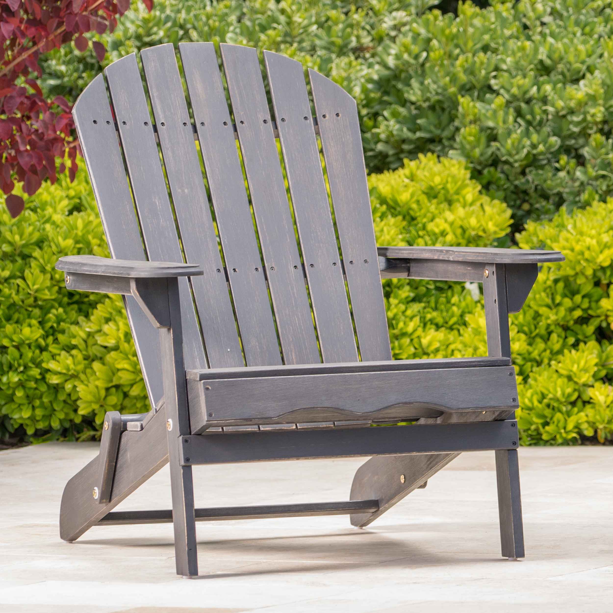 Hillary Dark Gray Acacia Wood Folding Adirondack Chair - Dark Gray, Single