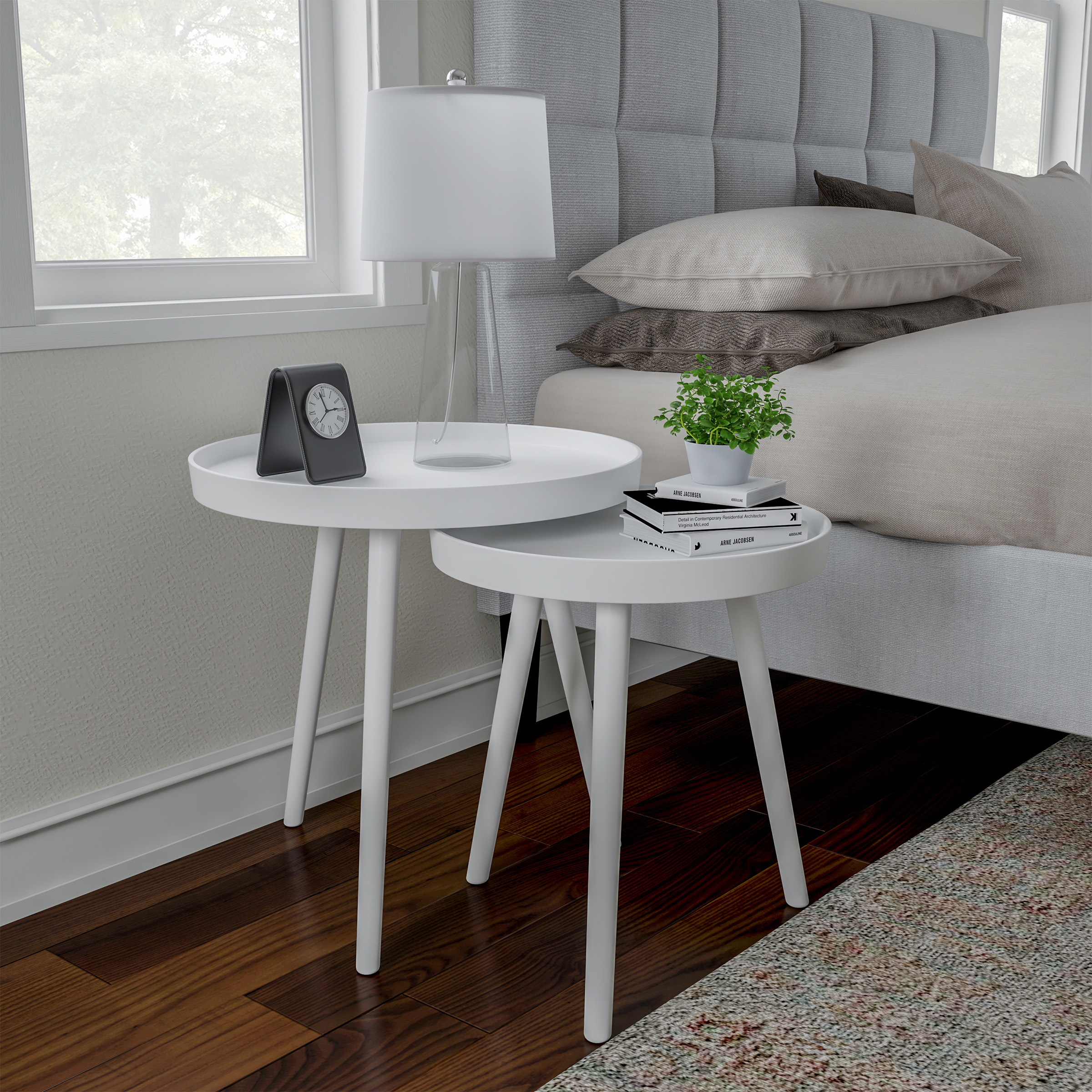 Nesting End Tables Circular Mid-Century Modern MDF Wood Contemporary Décor Home Accent Table with Tray Top (White, Set of 2)