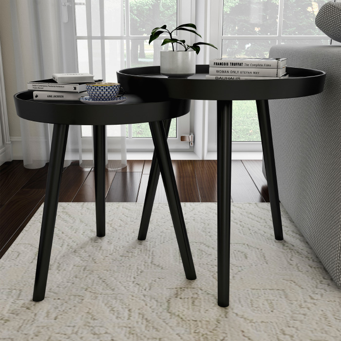 2 Black Nesting End Tables Circular Wood Contemporary Decor and Home Accent Table with Tray Top D�cor