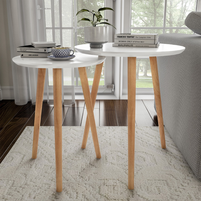 2 White Nesting End Tables Wood Contemporary Decor and Home Accent Table with Circular Top D�cor