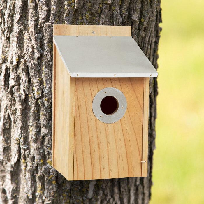 Pine Bird House with Tin Roof- Outdoor, Weather Resistant Classic Wooden Nesting Box Birdhouse