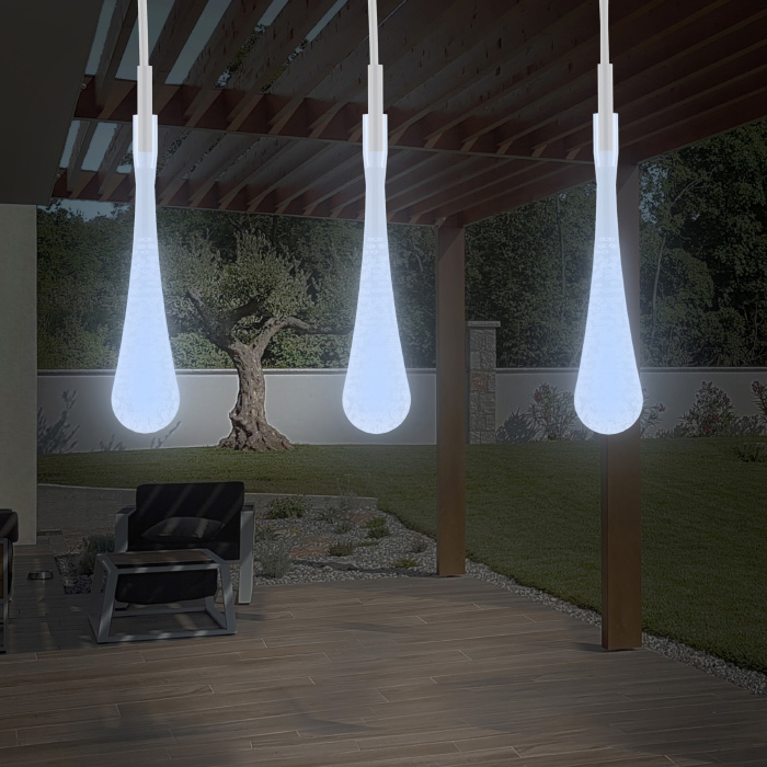 String Lights Set of 2 Solar Power Outdoor LED Decor Tear Drop Lighting with 8 Modes and Rechargeable Battery 30 Bulbs Cool