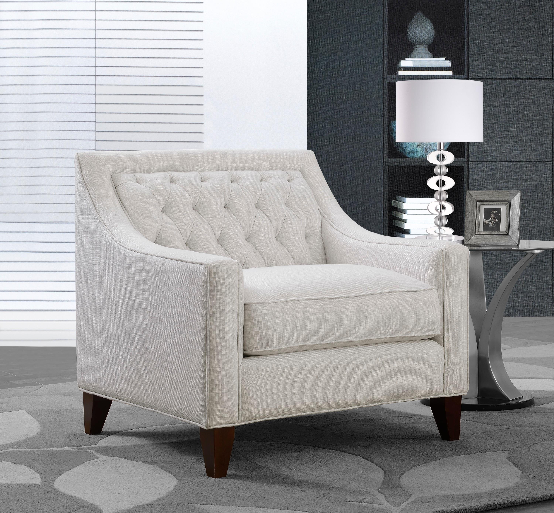 Vesta Linen Tufted Back Rest Modern Contemporary Club Chair - Beige