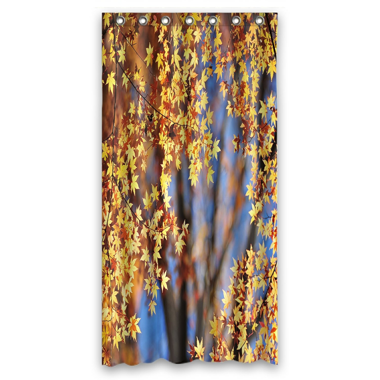 Landscape Shower Curtain, Autumn Maple Leaves Shower Curtain 36x72 inch