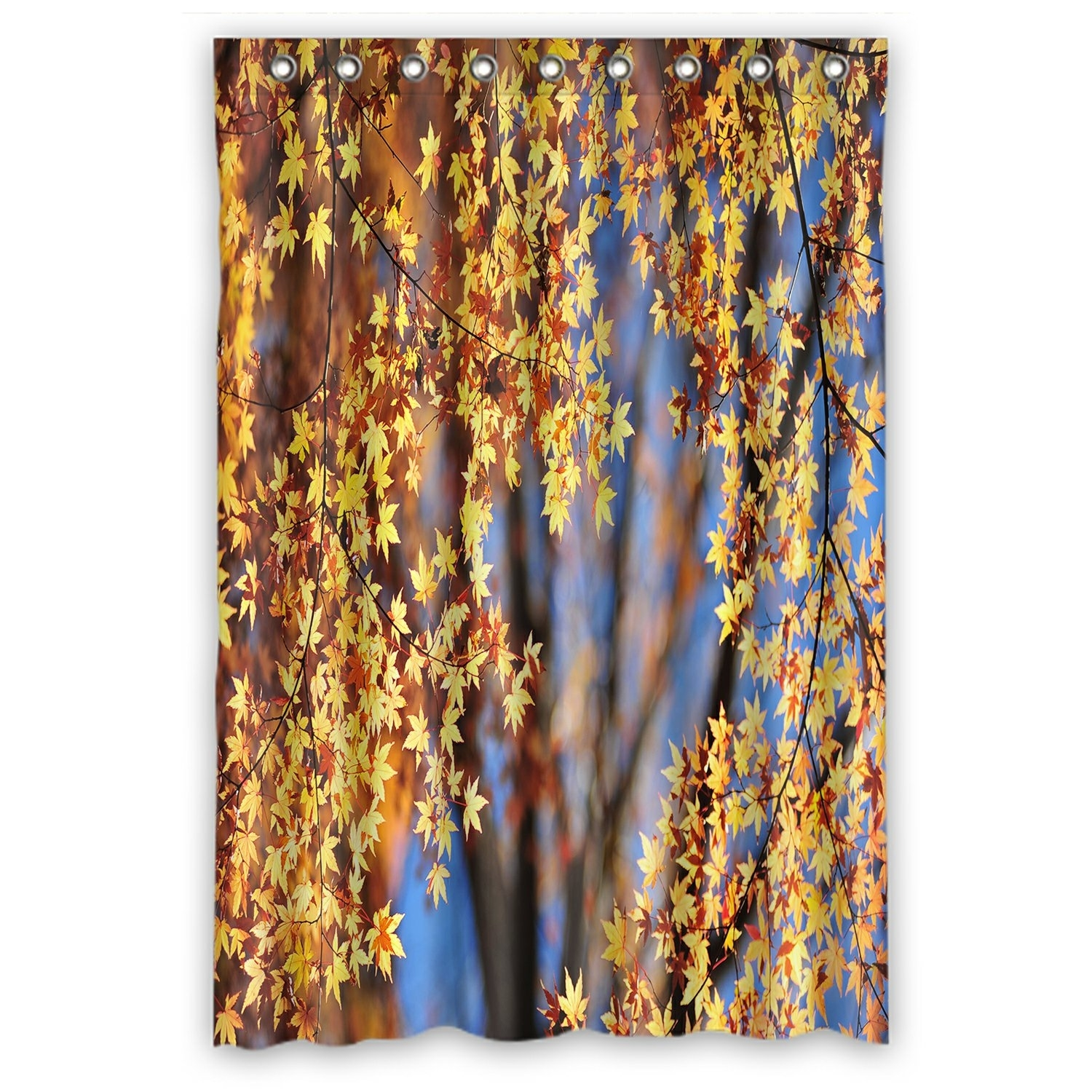 Landscape Shower Curtain, Autumn Maple Leaves Shower Curtain 48x72 inch