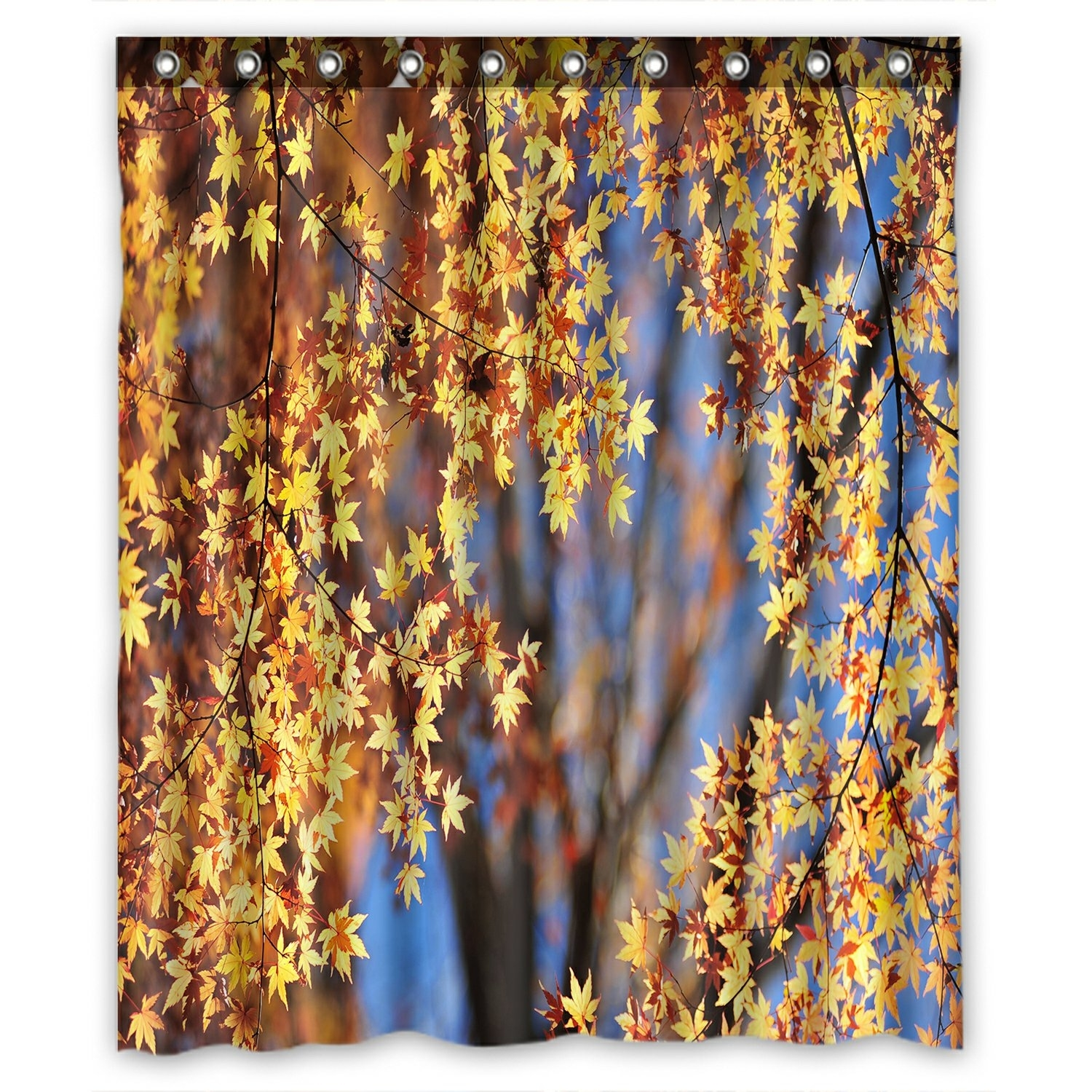 Landscape Shower Curtain, Autumn Maple Leaves Shower Curtain 60x72 inch