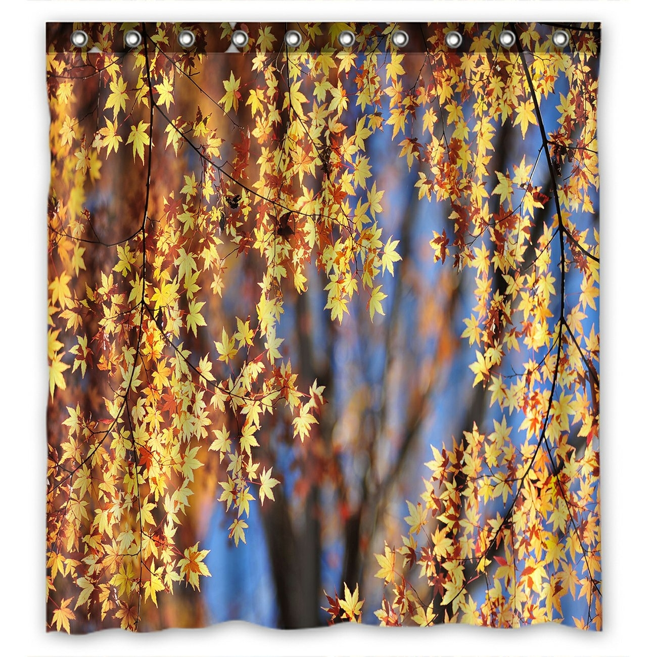 Landscape Shower Curtain, Autumn Maple Leaves Shower Curtain 66x72 inch