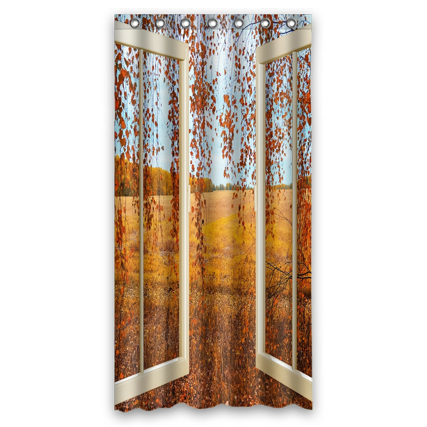 Scenery Shower Curtain, Open Window overlook the Autumn Forest Shower Curtain 36x72 inch