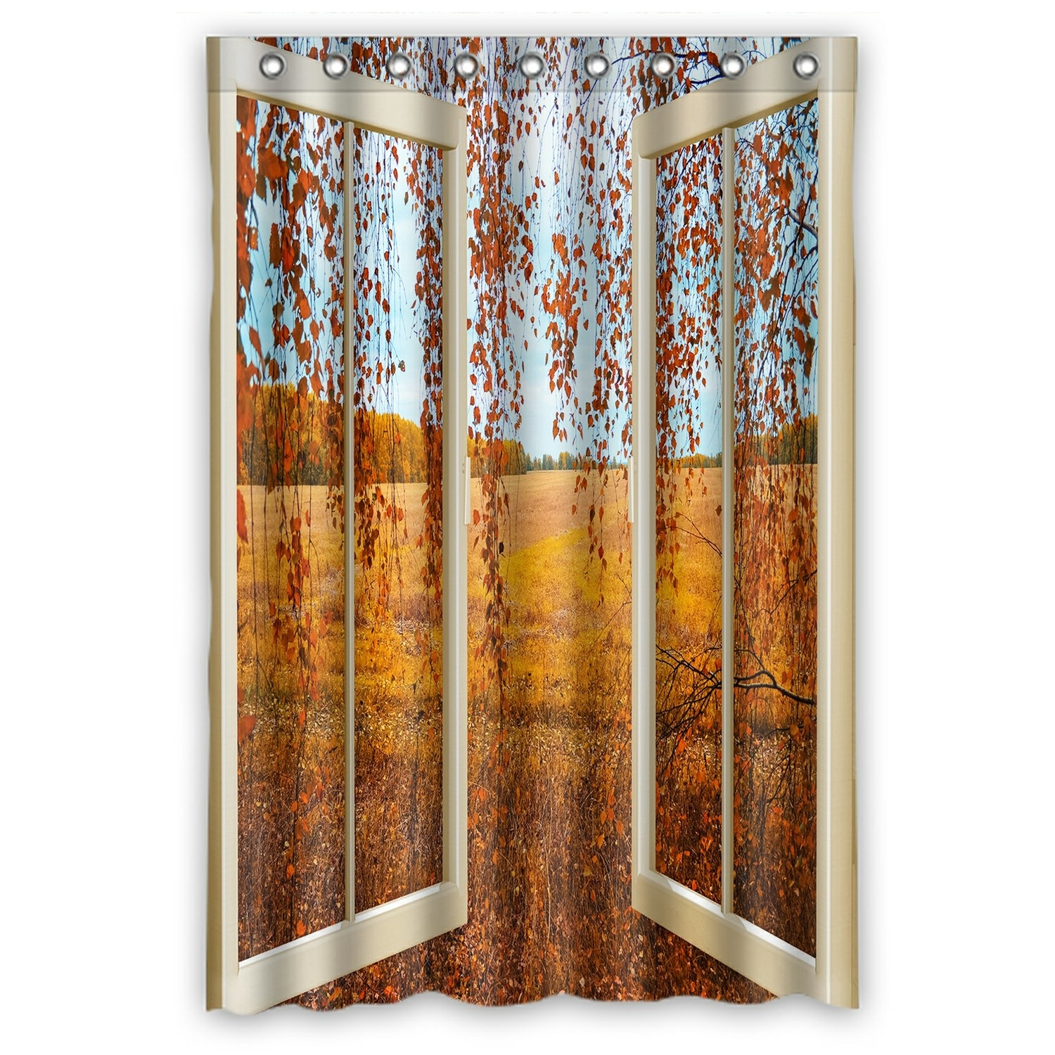Scenery Shower Curtain, Open Window overlook the Autumn Forest Shower Curtain 48x72 inch
