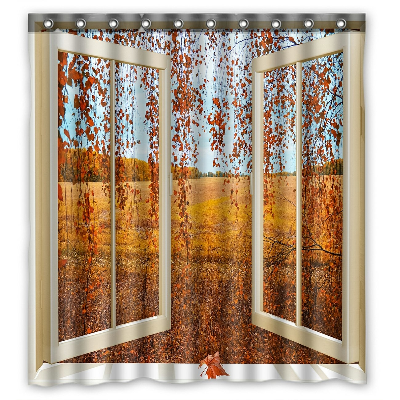 Scenery Shower Curtain, Open Window overlook the Autumn Forest Shower Curtain 66x72 inch