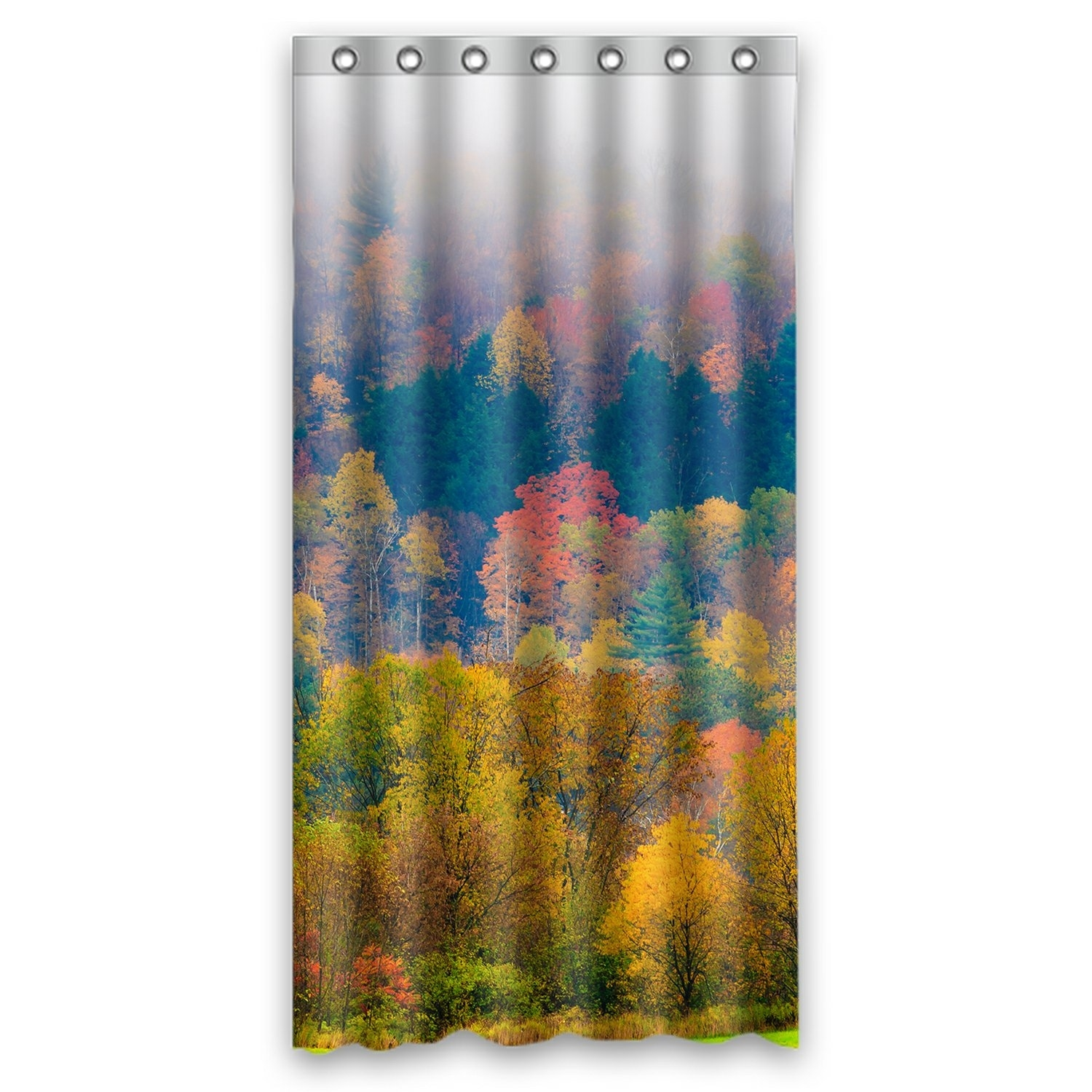 Forest Landscape Shower Curtain, Field of Trees during Fall Foliage Shower Curtain 36x72 inch