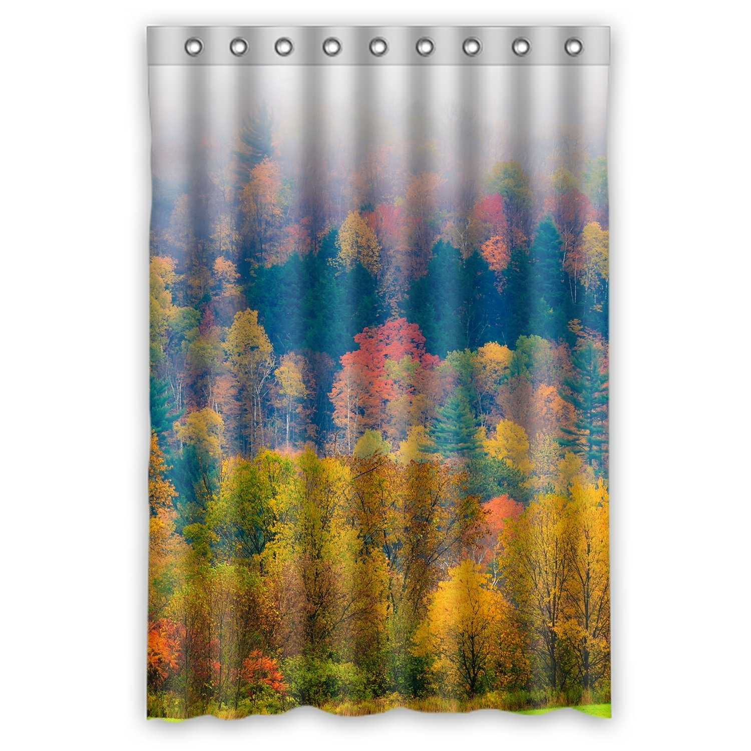 Forest Landscape Shower Curtain, Field of Trees during Fall Foliage Shower Curtain 48x72 inch