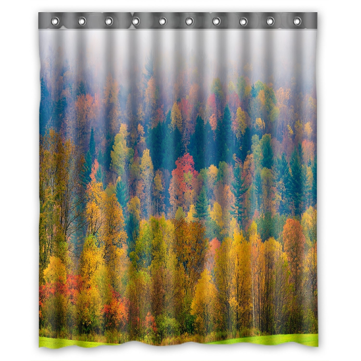 Forest Landscape Shower Curtain, Field of Trees during Fall Foliage Shower Curtain 60x72 inch