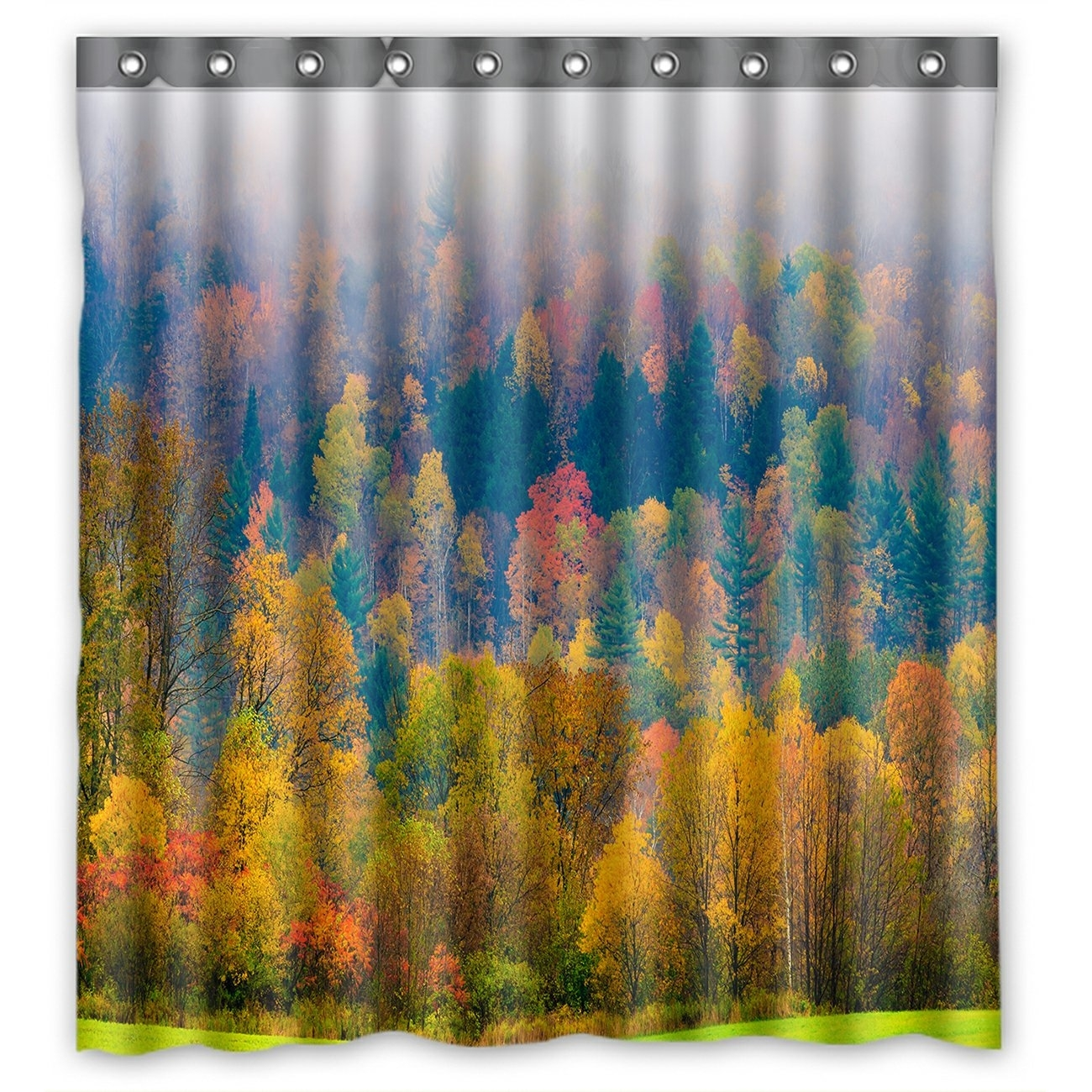 Forest Landscape Shower Curtain, Field of Trees during Fall Foliage Shower Curtain 66x72 inch