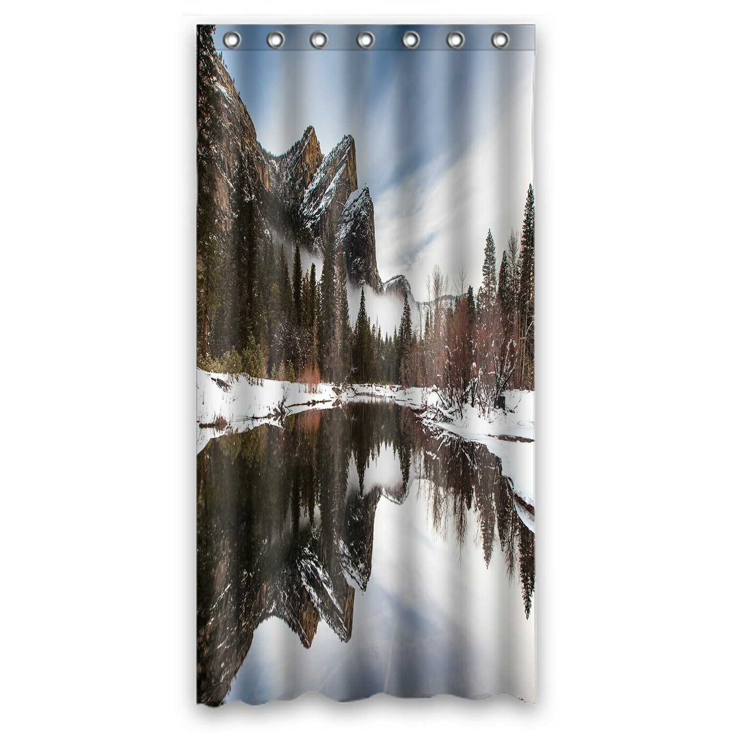 Mountain Lake Trees Shower Curtain, Yosemite National Park Scenery Nature Shower Curtain 36x72 inch