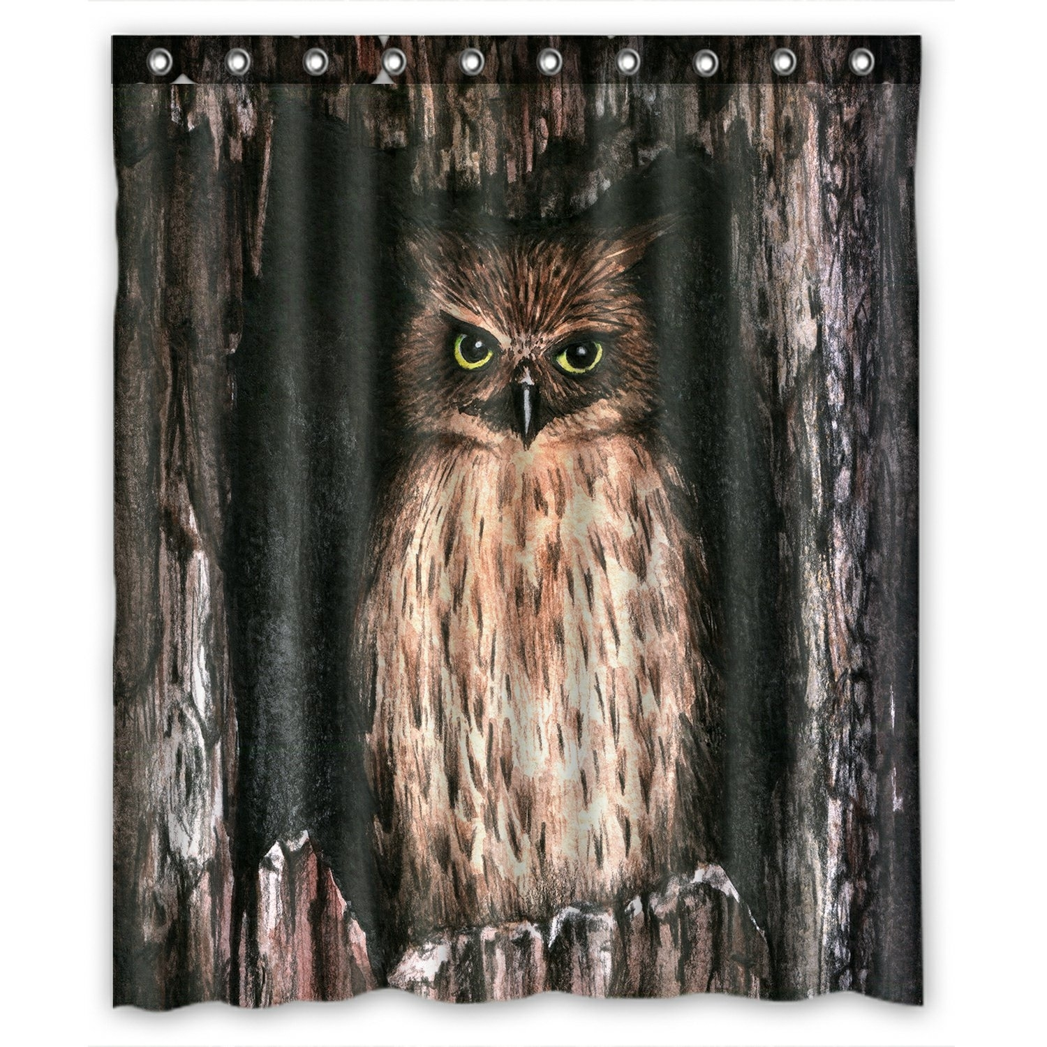 Watercolor Animal Shower Curtain, Cool Owl Shower Curtain 60x72 inch
