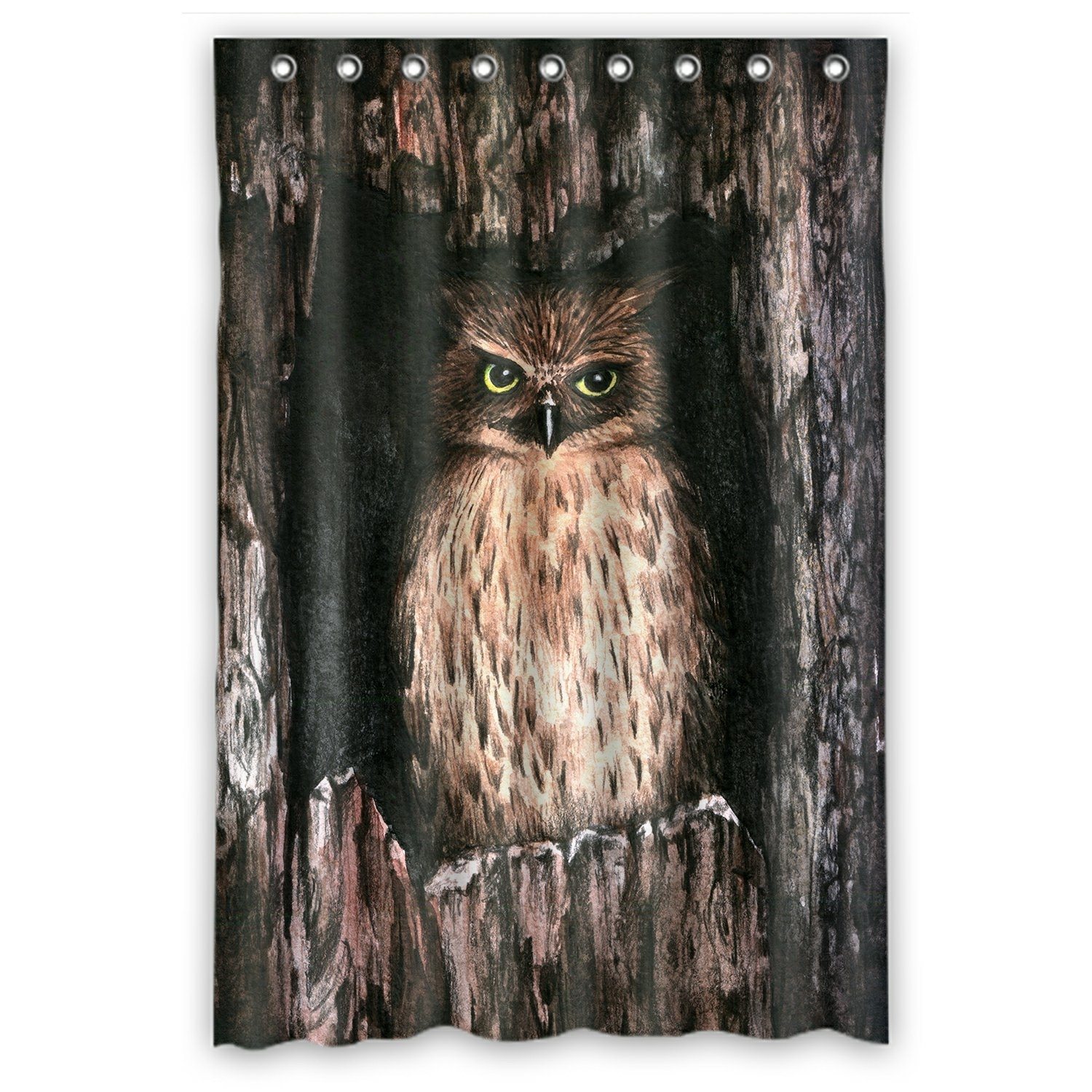 Watercolor Animal Shower Curtain, Cool Owl Shower Curtain 48x72 inch