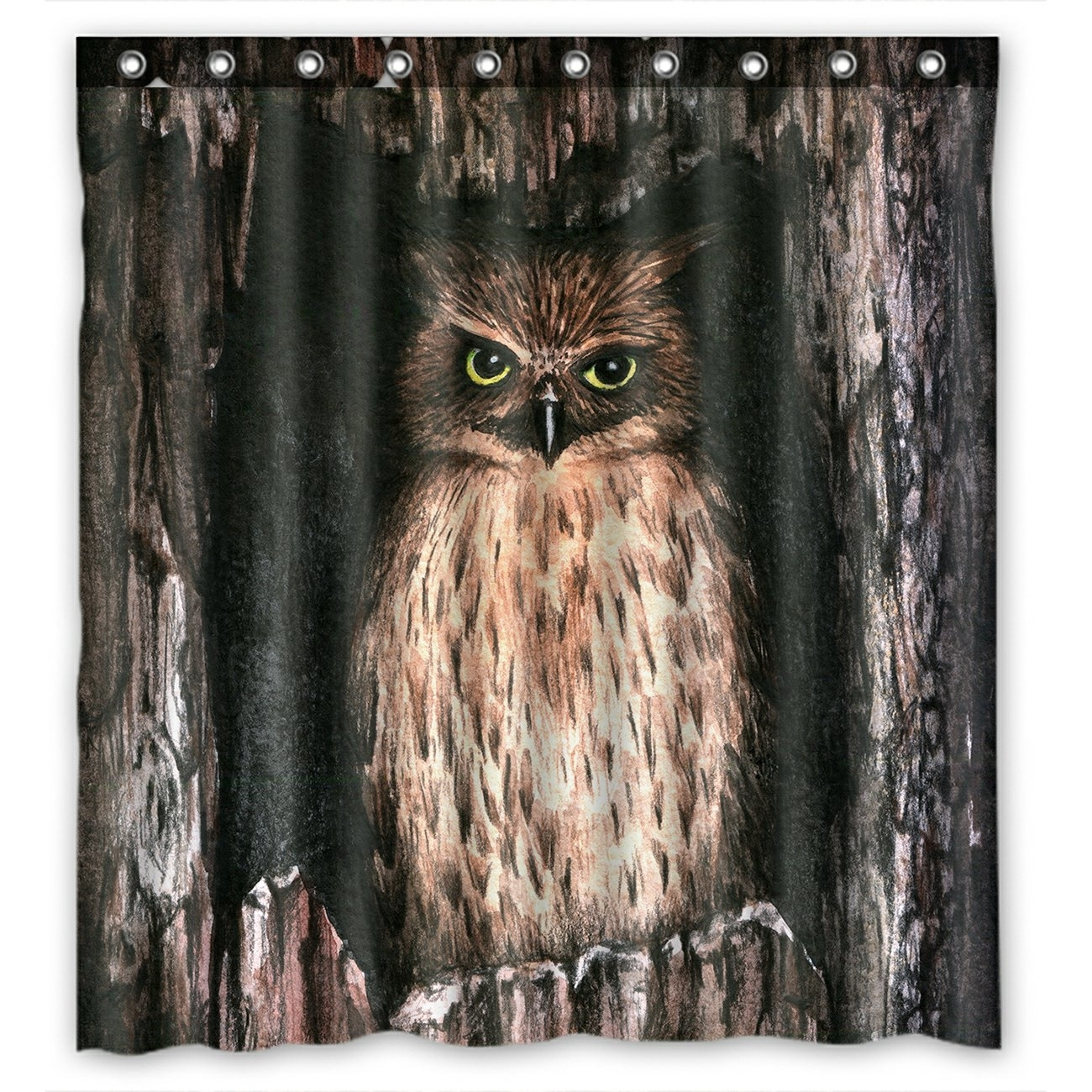 Watercolor Animal Shower Curtain, Cool Owl Shower Curtain 66x72 inch