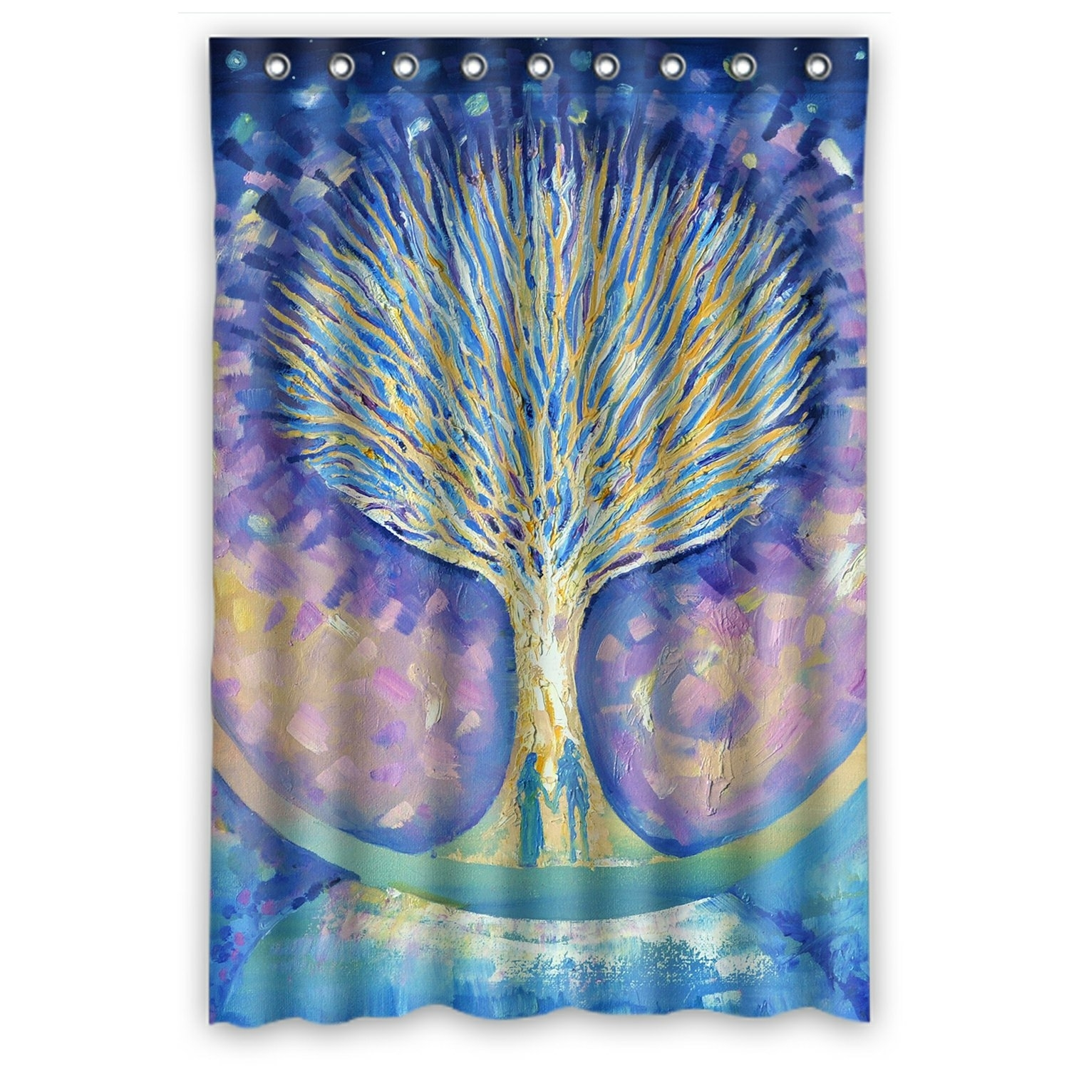 Abstract Shower Curtain, Love Couple on the Moon looking the Tree of Life Shower Curtain 48x72 inch