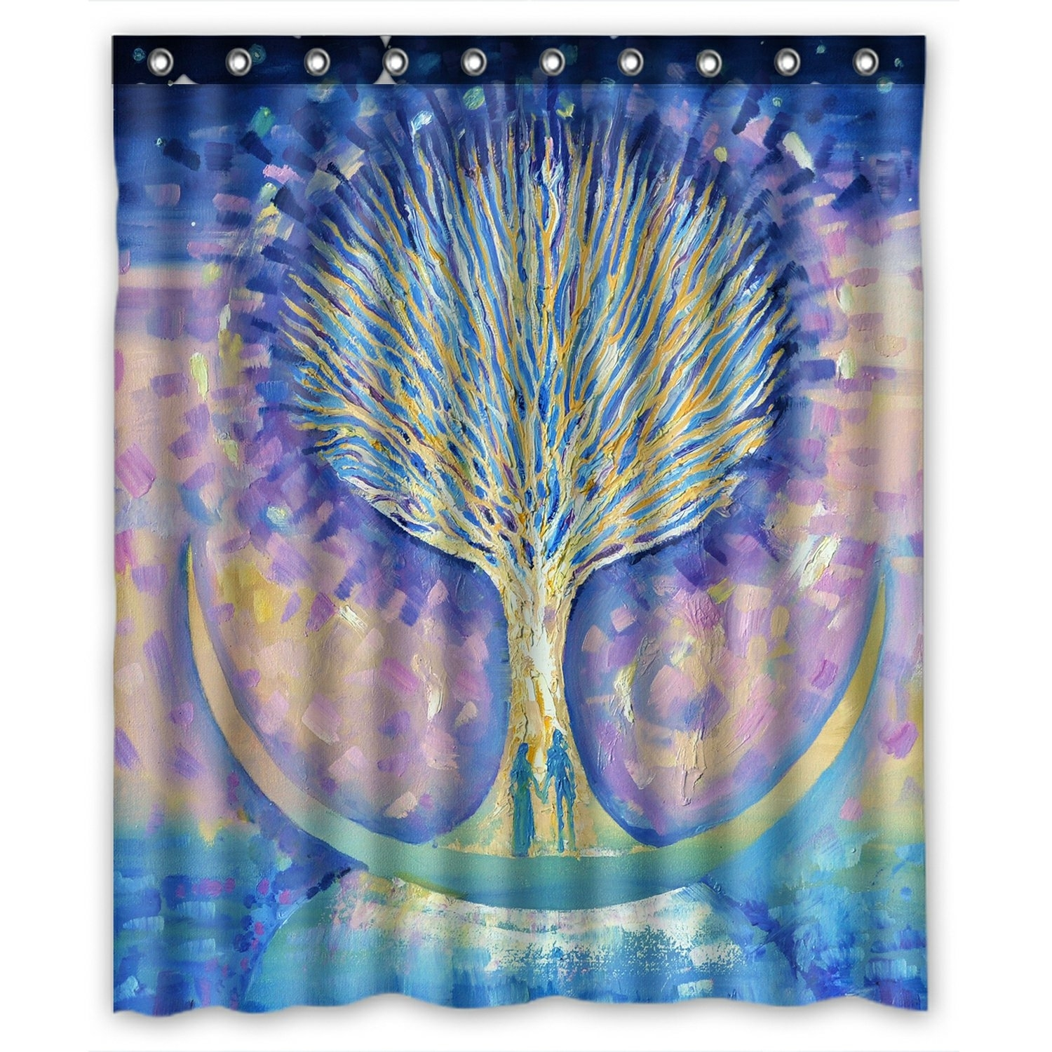Abstract Shower Curtain, Love Couple on the Moon looking the Tree of Life Shower Curtain 60x72 inch