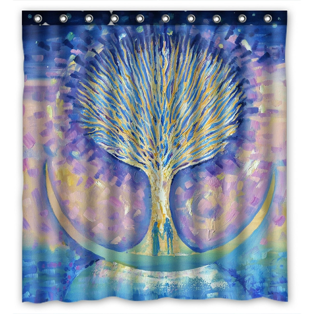 Abstract Shower Curtain, Love Couple on the Moon looking the Tree of Life Shower Curtain 66x72 inch