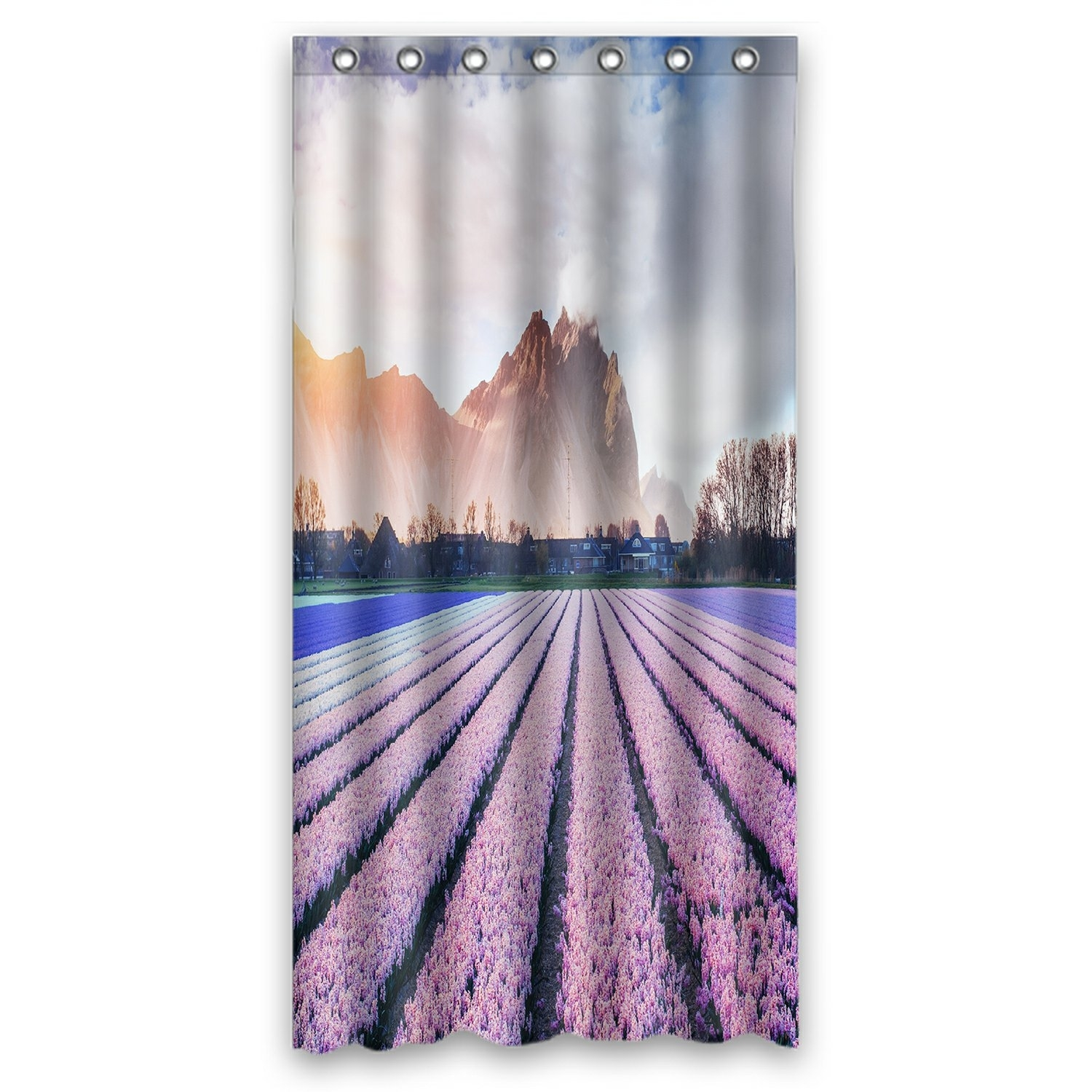 Landscape Scenery Nature Shower Curtain, Beautiful Mountains in the Mist at Sunset Shower Curtain 36x72 inch