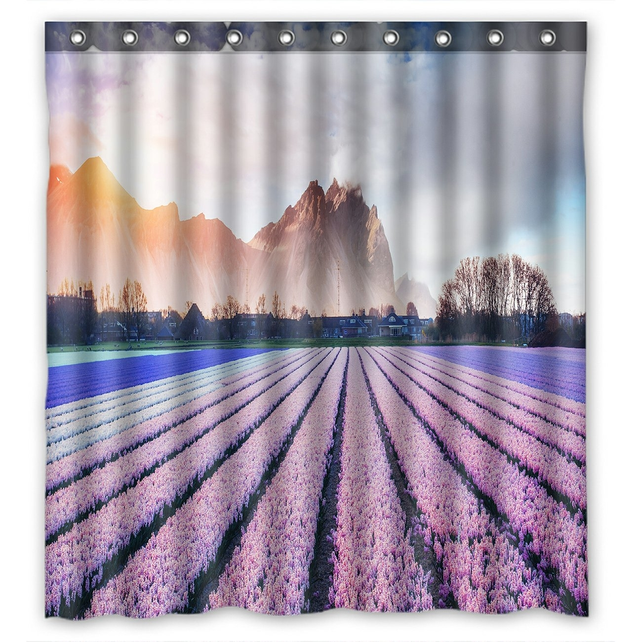 Landscape Scenery Nature Shower Curtain, Beautiful Mountains in the Mist at Sunset Shower Curtain 66x72 inch