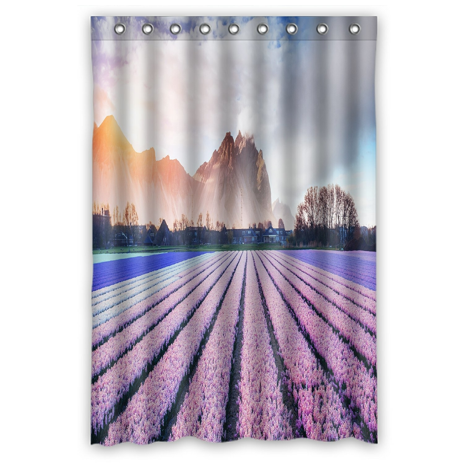 Landscape Scenery Nature Shower Curtain, Beautiful Mountains in the Mist at Sunset Shower Curtain 48x72 inch