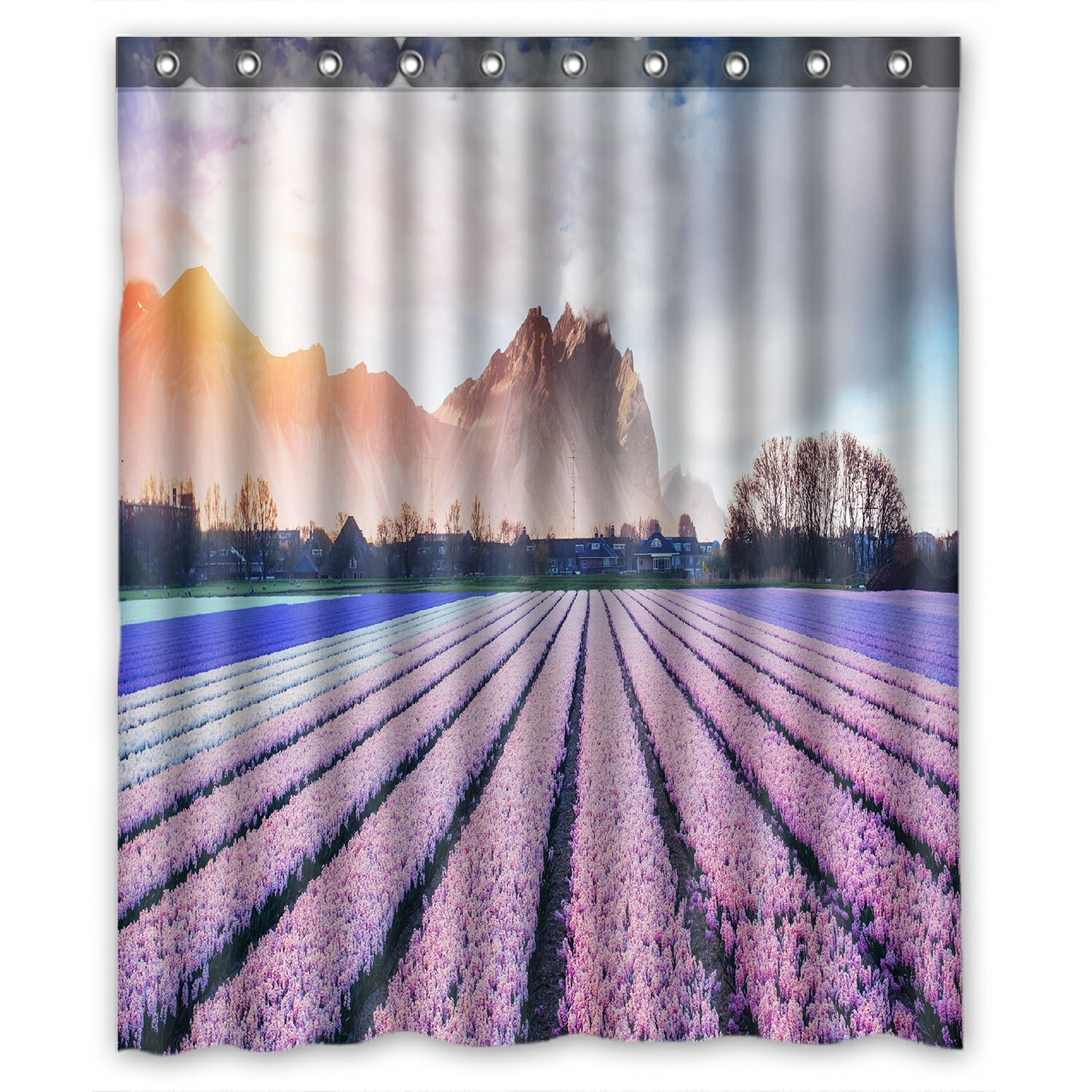 Landscape Scenery Nature Shower Curtain, Beautiful Mountains in the Mist at Sunset Shower Curtain 60x72 inch