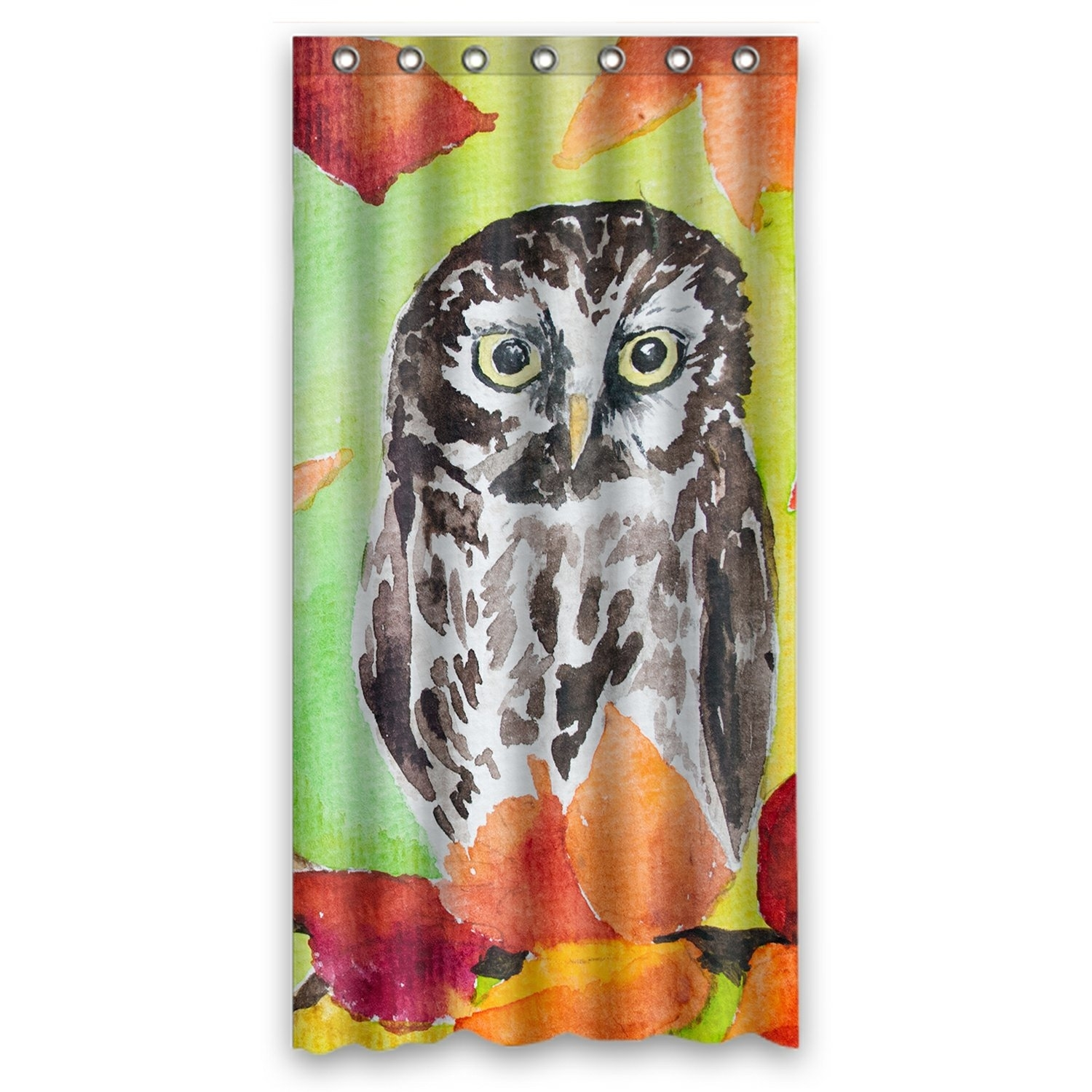 Oil Painting Landscape Shower Curtain, Owl Sitting in the Autumn Forest Tree Shower Curtain 36x72 inch