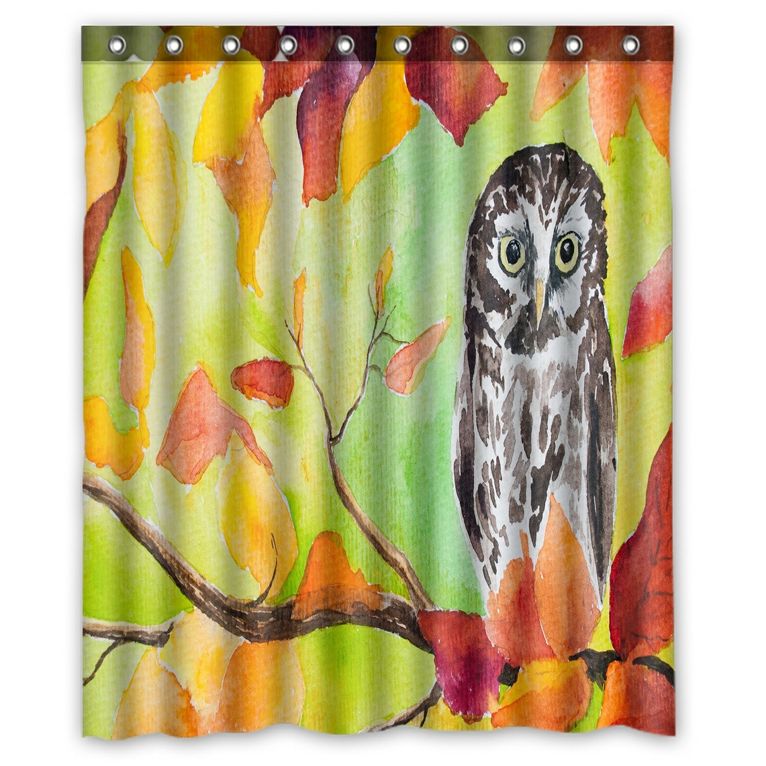 Oil Painting Landscape Shower Curtain, Owl Sitting in the Autumn Forest Tree Shower Curtain 60x72 inch