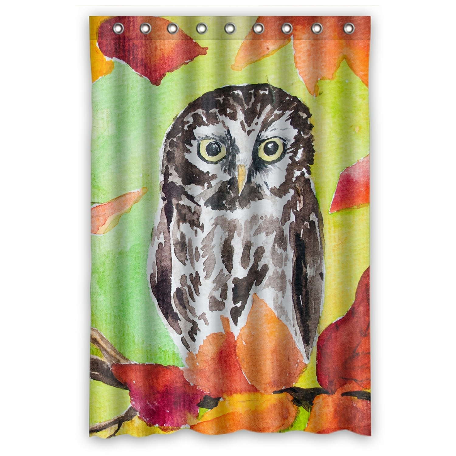 Oil Painting Landscape Shower Curtain, Owl Sitting in the Autumn Forest Tree Shower Curtain 48x72 inch