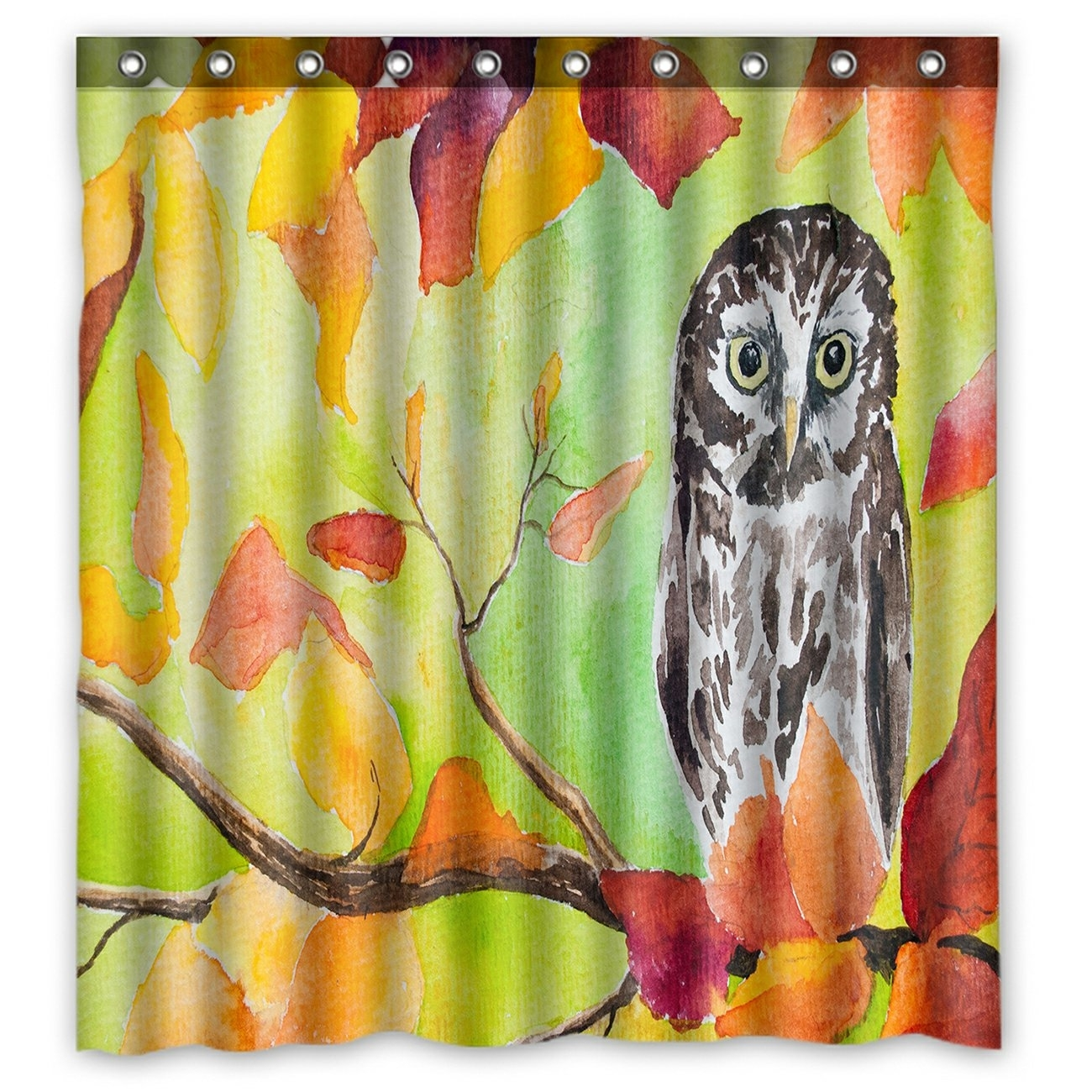 Oil Painting Landscape Shower Curtain, Owl Sitting in the Autumn Forest Tree Shower Curtain 66x72 inch