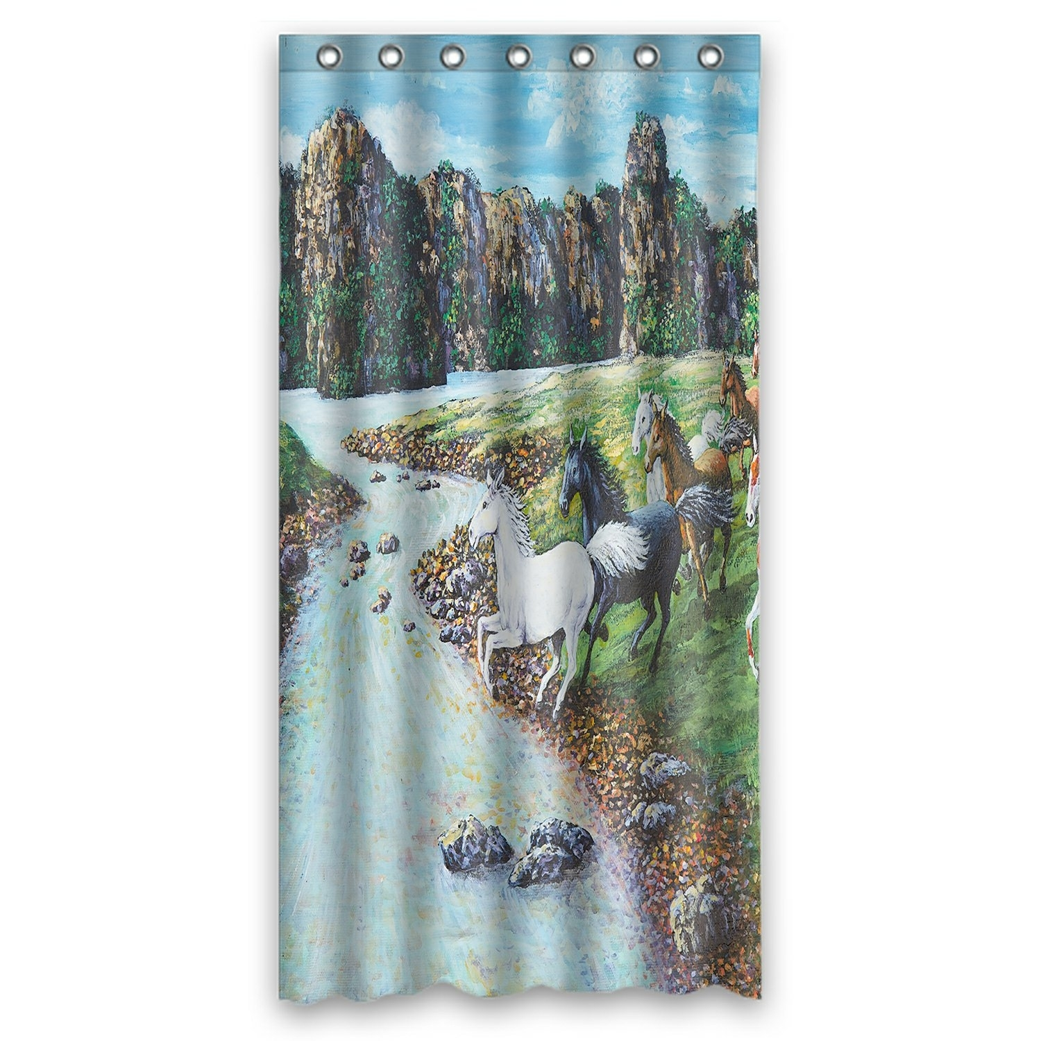 Oil Painting Landscape Shower Curtain, Animal Horses Crossing the River Shower Curtain 36x72 inch